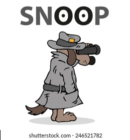 Dog detective looking through binoculars