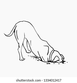 Dog digs a hole. Puppy is hiding the bone. Pooch digs up treasure. Ink sketch. Stock vector illustration