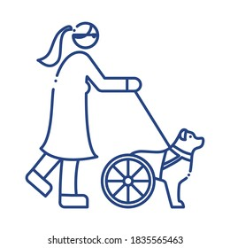 dog disabled with wheels leading the woman blind line style icon vector illustration design