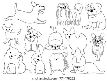 dog doodle line art set