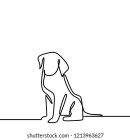 Dog drawing vector using continuous single one line art style isolated on white background.