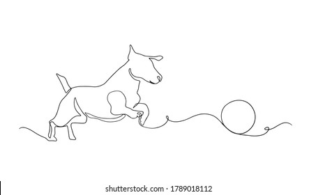 Dog drawing vector using continuous single one line art style isolated on white background. Dog playing with a ball vector illustration.One line dog design silhouette. Hound. Hand drawn minimalism.