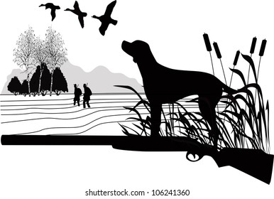 Dog of a duck  hunt nature a vector the gun on a white background is isolated