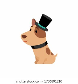 Dog in elegant top hat flat vector illustration. Cute puppy in old fashioned costume cartoon character. Funny terrier sitting isolated on white background. Domestic animal in black cap and collar