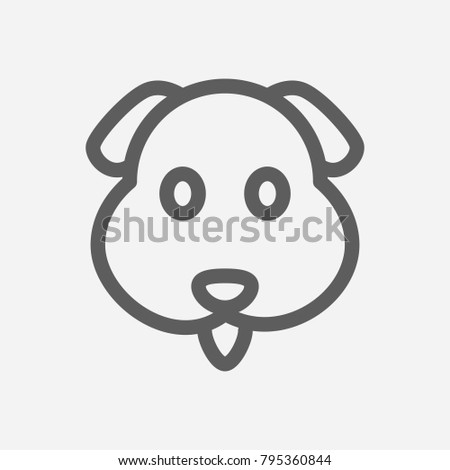Dog Emoji Icon Line Symbol Isolated Stock Vector (Royalty Free