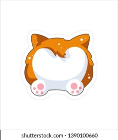 Dog emoji sticker, patch. Vector illustration. Cartoon Corgi. Welsh corgi. Cute Welsh Corgi Pembroke cartoon. Cute dog breed welsh corgi. Flat style.