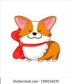 Dog emoji sticker, patch. Vector illustration. Cartoon Corgi. Welsh corgi. Cute Welsh Corgi Pembroke cartoon. Cute dog breed welsh corgi. Flat style. Dog with big red bow.
