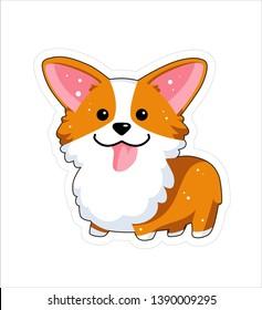 Dog emoji sticker, patche. Vector illustration. Cartoon Corgi. Welsh corgi. Cute Welsh Corgi Pembroke cartoon. Cute dog breed welsh corgi. Flat style.