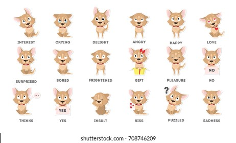 Dog emotions set. Funny cartoon emoji. Smiling and angry, sad and delight dog.