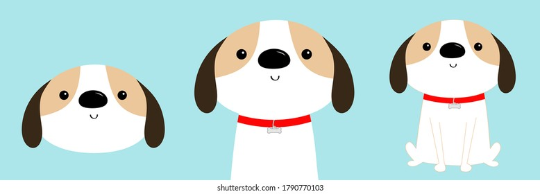 Dog face, body, sitting puppy icon set. Red collar. White pooch. Cute cartoon kawaii funny baby character. Flat design. Help homeless animal concept. Adopt me. Pet adoption. Blue background. Vector