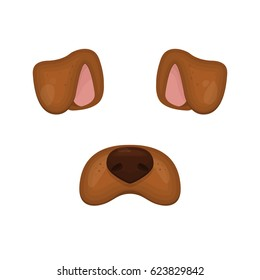 Dog face elements. Vector illustration. Animal character ears and nose. Video chart filter effect for selfie photo decoration. Constructor.Cartoon brown Dog mask. Isolated on white. Easy to edit.