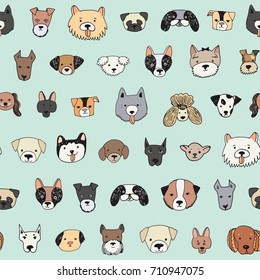 dog face funny cartoon doodle vector seamless pattern