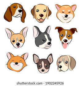 Dog face icon. Vector illusion of funny cartoon different breeds dog in trendy flat style. Hand draw on white background.