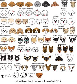 Dog face Illustration collection vector