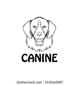 dog face logo. canine logo. dog line art illustration