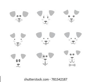 Dog face. Logo. Vector set.