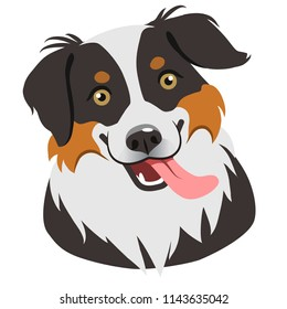 Dog face portrait cartoon illustration.  Cute friendly herding dog smiling with tongue out. Pets, dog lovers, animal themed design element isolated on white, contemporary flat vector style.