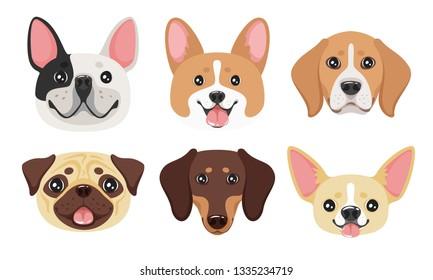 Dog face set. Adorable pet. Vector illustration isolated on white background.