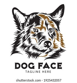 Dog face vector illustration in woodcut style, perfect for dog lover club and breeder logo