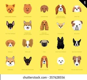 Dog Faces Icon Cartoon