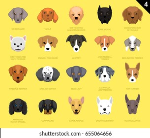 Dog Faces Icon Cartoon Set Weimaraner