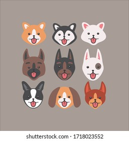 dog faces pack different kinds cute kawaii design