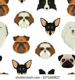 Dog faces pattern  Geometric style