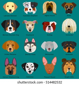 dog faces set with breeds name