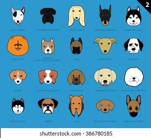 Dog Faces Stroke Icon Cartoon 2
