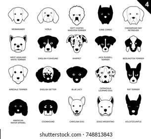 Dog Faces Stroke Icon Monochrome Cartoon Weimaraner Set