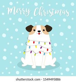 Dog fir tree shape. Merry Christmas. Garland lights bulb string Star. Puppy pooch sitting. Funny Kawaii animal Kids print. Cute cartoon pet baby character. Flat design. Blue snow background. Vector
