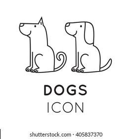 Dog flat icons set in line style vector. Logo for pet shop, veteriarian clinic or dog training company.