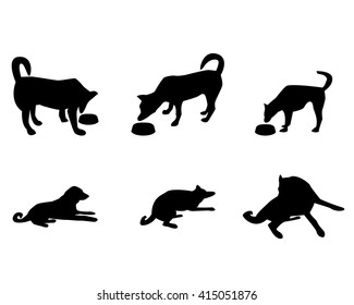 Dog and food bowl in silhouette style, vector