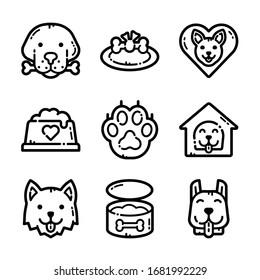 Dog And Dog Food Icon Set