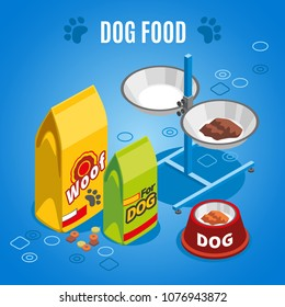Dog food isometric composition on blue background with dry and wet feed, paw imprints, vector illustration     - Shutterstock ID 1076943872