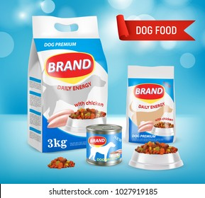 Dog food vector realistic illustration. Paper bag, doy-pack plastic bag, bowl with dry food, canned food on blue background. New premium dog food brand advertising poster.