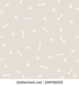 Dog Footprint and Bone Seamless Patter, Background and light color