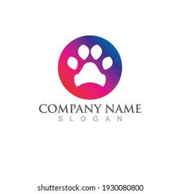 dog footprint logo  illustration template design