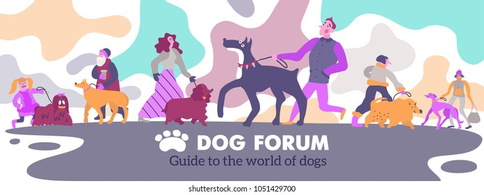 Dog forum webpage header with poodle spaniel golden retriever german mastiff terrier owners abstract background vector illustration