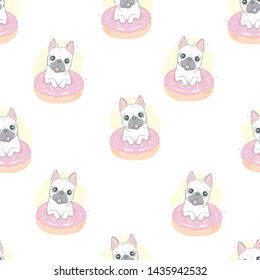 Dog French bulldog with donut seamless pattern in vector