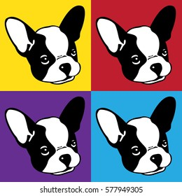 Dog french bulldog face head monochrome Pop art graphic vintage illustration