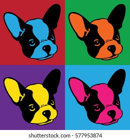 Dog french bulldog face head Pop art graphic vintage illustration
