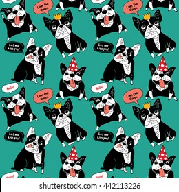 Dog French bulldog happy animals color seamless pattern. Color vector illustration. EPS8