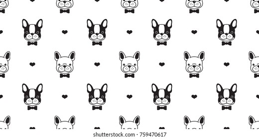 Dog french bulldog heart love valentine puppy vector seamless pattern wallpaper background