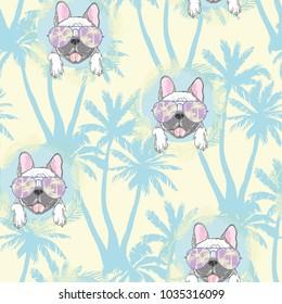 dog. french bulldog. illustration seamless pattern wallpaper background