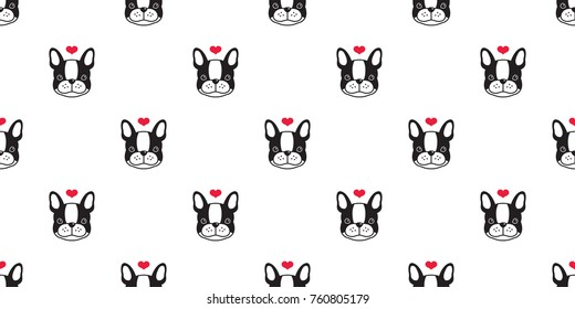 Dog french bulldog love heart valentine puppy vector seamless pattern wallpaper background