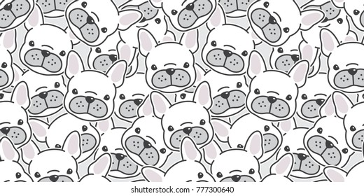 Dog french bulldog puppy face dog head doodle vector seamless pattern isolated wallpaper