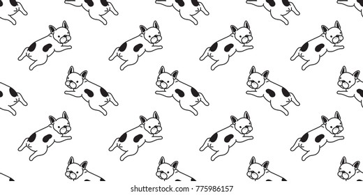 Dog french bulldog puppy sitting doodle vector seamless pattern cartoon wallpaper background