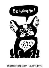 Dog French Bulldog silhouette. Cute dog ask be human. Black and white illustration.