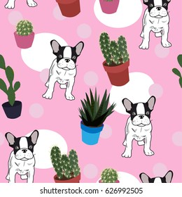 Dog french and Cactus Background. Seamless Pattern on pink color. Vector pattern. For girl. For textile, fabric, and Web